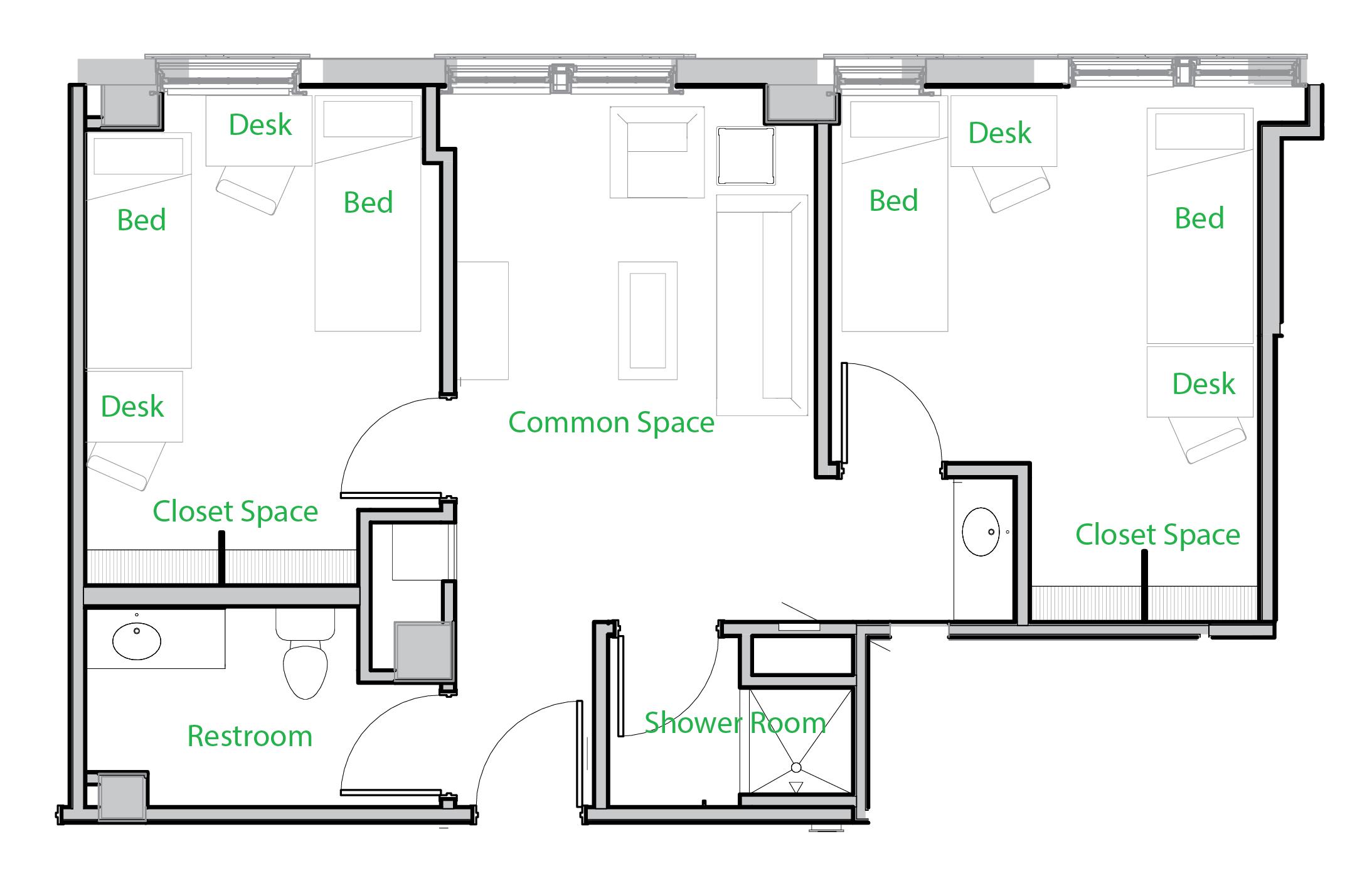Double occupancy 4-person suite
